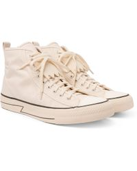 Skagway Fringed Leather-trimmed Canvas High-top Sneakers - BlackVisvim