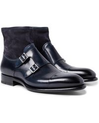 Santoni - Cap-toe Leather And Suede Monk-strap Boots - Lyst