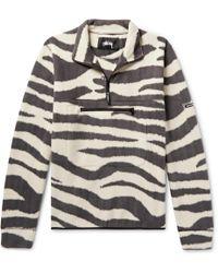 Stussy - Zebra-print Fleece Half-zip Sweatshirt - Lyst