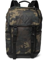 Polo Ralph Lauren - Camouflage-print Leather-trimmed Cotton-canvas Backpack - Lyst