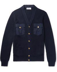 Brunello Cucinelli | Poplin-panelled Ribbed Cotton Cardigan | Lyst