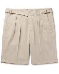 Rubinacci - Manny Pleated Stretch-cotton Twill Shorts - Lyst