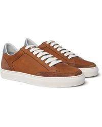 Brunello Cucinelli - Apollo Nubuck, Suede And Leather Sneakers - Lyst