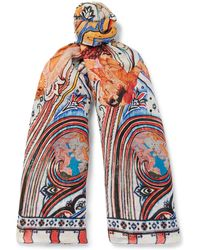 Etro - Printed Linen And Silk-blend Scarf One Size - Lyst