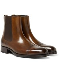 Tom Ford - Edgar Burnished-leather Cap-toe Chelsea Boots - Lyst