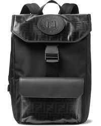 Fendi - Leather-trimmed Logo-print Coated-canvas Backpack - Lyst