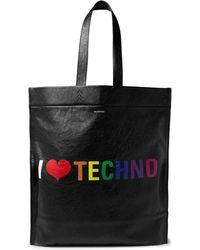 Balenciaga - Black Techno Print Leather Shopper Tote - Lyst