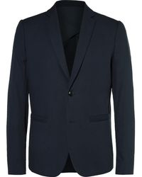 Folk - Blue Counter Slim-fit Cotton-piqué Blazer - Lyst