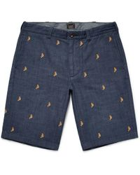 J.Crew | Embroidered Cotton-chambray Shorts | Lyst