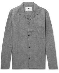 NN07 - Jannic 1299 Camp-collar Wool And Linen-blend Overshirt - Lyst