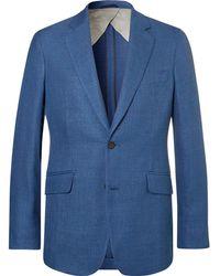 Hackett - Blue Slim-fit Mayfair Mélange Wool, Silk And Linen-blend Hopsack Blazer - Lyst