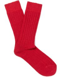 Anderson & Sheppard - Ribbed-knit Wool-blend Socks - Lyst