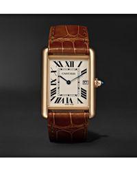 Cartier - Tank Louis 34mm 18-karat Gold And Alligator Watch - Lyst