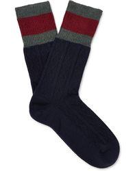 gucci underwear mens. gucci   stripe-trimmed cable-knit stretch wool-blend socks lyst underwear mens x