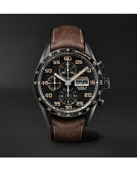 Tag Heuer Carrera Automatic Chronograph 45mm Titanium And Leather Watch, Ref. No. Cv2a84.fc6394 - Black