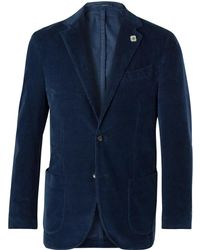 Lardini - Navy Slim-fit Unstructured Stretch-cotton Corduroy Blazer - Lyst