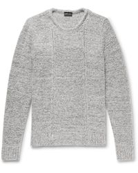 Giorgio Armani - Slim-fit Mélange Wool-blend Jumper - Lyst