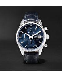 Tag Heuer - Carrera Automatic Chronograph 41mm Steel And Alligator Watch - Lyst