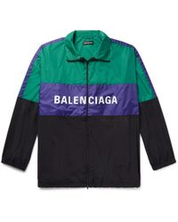 Balenciaga - Logo-print Colour-block Shell Track Jacket - Lyst