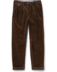 Polo Ralph Lauren - Wide-leg Pleated Stretch-cotton Corduroy Trousers - Lyst