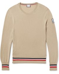 Moncler Gamme Bleu - Striped Cashmere And Silk-blend Jumper - Lyst