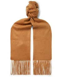 Mulberry - Logo-embroidered Fringed Cashmere Scarf - Lyst