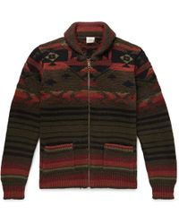 Faherty Brand - Winter Woods Shawl-collar Wool-blend Jacquard Zip-up Cardigan - Lyst