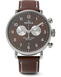 Shinola - Canfield Chronograph 43mm Stainless Steel And Leather Watch - Lyst