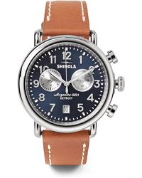 Shinola - The Runwell Chronograph 41mm Stainless Steel And Leather Watch - Lyst