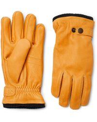 Hestra - Utsjö Fleece-lined Full-grain Leather Gloves - Lyst