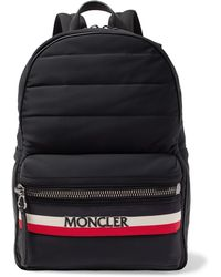 Moncler New George Webbing And Leather-trimmed Quilted Shell Backpack - Black