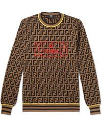 Fendi Logo-intarsia Knitted Jumper - Brown