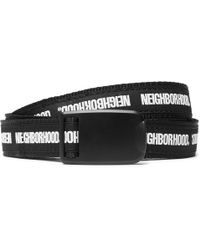 Neighborhood - 2cm Black And White Printed Canvas Belt - Lyst
