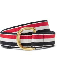 Thom Browne - 3cm Leather-trimmed Grosgrain And Brushed-twill Belt - Lyst