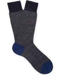 Pantherella - Hatherley Puppytooth Merino Wool-blend Socks - Lyst