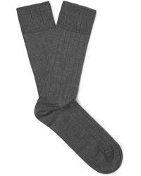 John Smedley - Delta Ribbed Sea Island Cotton-blend Socks - Lyst