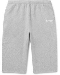 Balenciaga - Printed Mélange Fleece-back Cotton-blend Jersey Drawstring Shorts - Lyst
