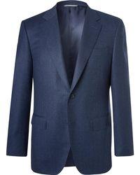 Canali - Navy Slim-fit Super 120s Wool Suit Jacket - Lyst