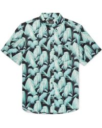Club Monaco - Slim-fit Button-down Collar Palm-print Cotton Shirt - Lyst