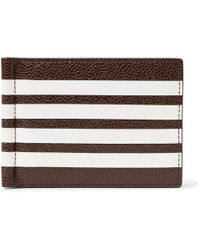 Thom Browne - Striped Pebble-grain Leather Wallet With Money Clip - Lyst
