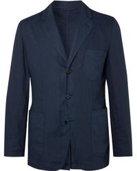Aspesi - Navy Slim-fit Unstructured Garment-dyed Linen Blazer - Lyst
