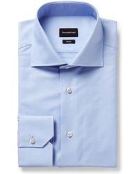 Ermenegildo Zegna - Light-blue Trofeo Slim-fit Cutaway-collar Cotton-poplin Shirt - Lyst