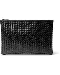 Bottega Veneta - Intrecciato Metal-brushed Leather Pouch - Lyst