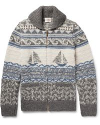 Faherty Brand - Sailboat-patterned Shawl-collar Merino Wool And Alpaca-blend Zip-up Cardigan - Lyst