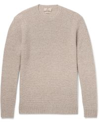 Hackett | Elbow-patch Mélange Linen, Wool, Silk And Cashmere-blend Sweater | Lyst