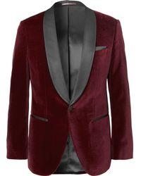 BOSS - Burgundy Hockley Slim-fit Satin-trimmed Cotton-velvet Tuxedo Jacket - Lyst