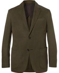 Ermenegildo Zegna - Olive Silk And Linen-blend Twill Suit Jacket - Lyst