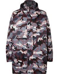 Valentino - Logo And Camouflage-print Shell Hooded Coat - Lyst