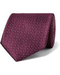 Ermenegildo Zegna - - 8cm Silk-jacquard Tie - Merlot - Lyst