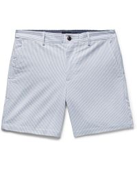 Club Monaco - Baxter Slim-fit Striped Stretch-cotton Seersucker Shorts - Lyst